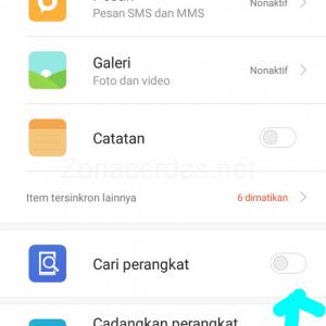 Gambar 4. Klik tombol on/off Cari perangkat.