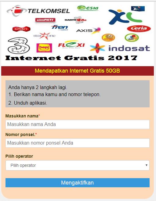 Gambar 1. Contoh Web Penipuan Gratis Kouta